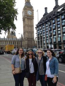 Bri Leclerc (second in on the left) and fellow UNH students in front of Big Ben in London, England.