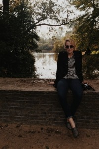 Bri Leclerc sitting in Vondelpark, Amsterdam, Holland.