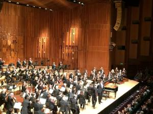 Nunnelly's view of the London Symphony Orchestra--her first concert experience in London, located at the Barbican Theatre.
